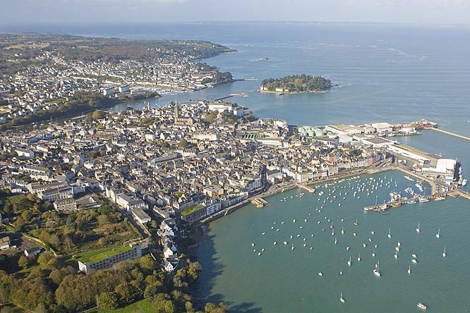 aerial view Douarnenez near camping south Brittany